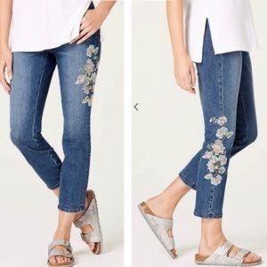 J.Jill Auth Fit Embroidered-Flower Cropped Jeans